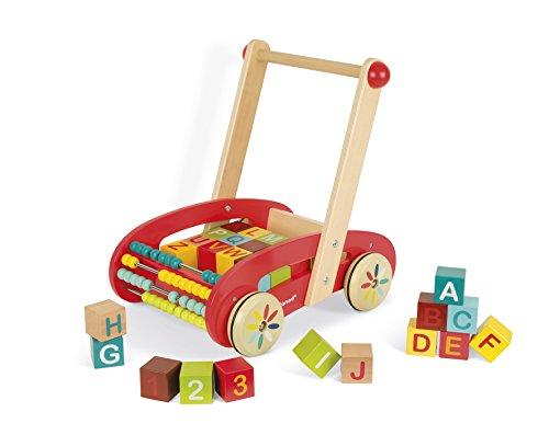 Janod J05379 Tatoo-ABC-Lauflernwagen aus Holz, für Kinder, mit 30 Klötzen, für Kinder ab 1 Jahr, rot