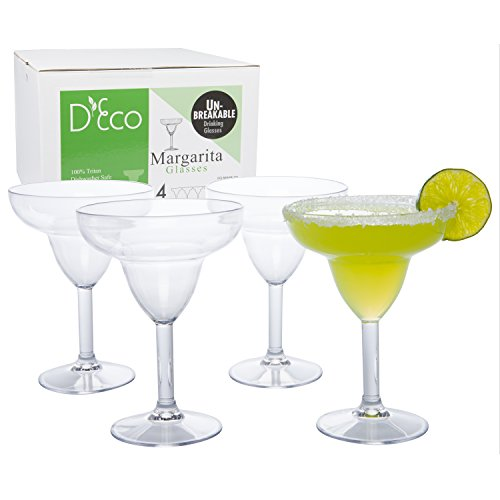 Unbreakable Stemmed Margarita Glasses 12oz  100% Tritan  Shatterproof Reusable Dishwasher Safe Drink Glassware Set of 4 Indoor Outdoor Drinkware  Great Holiday and Wedding Gift