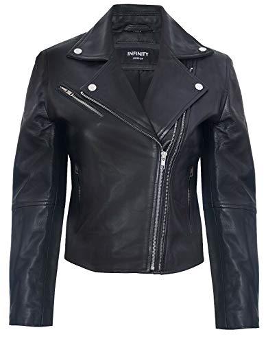 Damen Lederjacke Klassisch Motorradfahrer Style Schwarz Echtes M