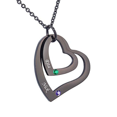 HooAMI Personalisierte 1 Familienmitglied Doppelherz Halskette mit Steinen Geburtssteinkette mit Gravur