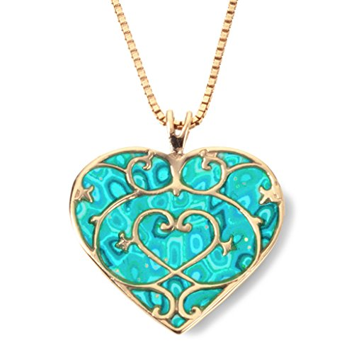Gold Plated Silver Heart Pendant Fleur de Lis Necklace Handmade Sea Green Polymer Clay, 16.5