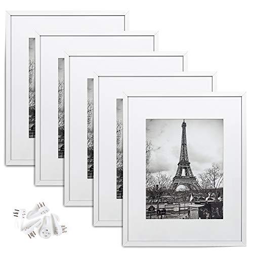 upsimples - Marco de fotos de 16 x 20, juego de 5, fotos de 11 x 14 con paspartú o 16 x 20 sin paspartú, marcos de póster de galería de pared, color blanco