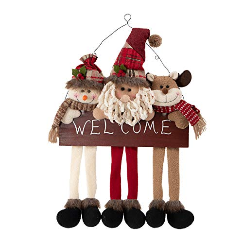 Rebecca Mobili Decoración Exterior por Puertas, Corona de Navidad, Rojo Blanco Marrón, Idea De Regalo para Colgar - Medidas: 60 x 38 x 6 cm - Art. RE6510
