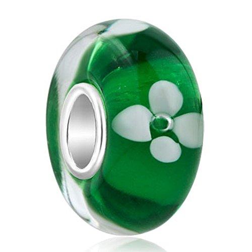 Plata de Ley jewelryhouse flor cristal de Murano cuentas ajuste colgantes pulseras