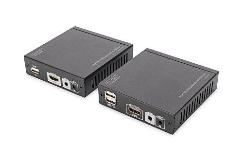 DIGITUS Professional DS-55502 - 4K HDMI KVM-Extender - 30/60 Hz - Set (Sender/Empfänger) - HDBaseT - HDCP 1.4 - bis zu 70 m Reichweite - PoE-fähig - Patchkabel (Cat 5e/6) - schwarz
