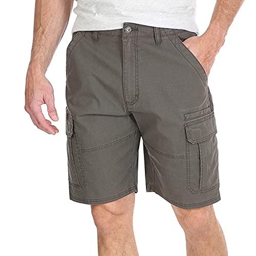 Men's Stretch Cargo Multi Pocket Zipper Shorts Venture Flat Front Woven Twill Cotton Work Hiking Short Pants for Men
