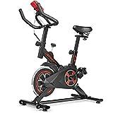 COSTWAY Cyclette Fitness Interno Bicicletta Spinning, Resistenza Regolabile Molti Posizioni, Bici da Fitness Ergonomica con Sensore LCD, Ruote di Trasporto, Unisex
