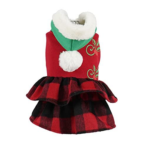 Mascota Disfraz De Navidad Lindo Perro Gato Vestido con Capucha Mascota Princesa Vestido Entramado Perro Disfraz De Navidad Ropa Cachorro Cálido Invierno Ropa con Bola De Piel para Perros