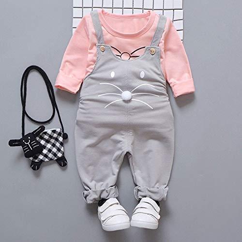 Baby Girls T-shirt + Salopette Costume du nouveau-né Mode printemps Ensembles extérieur Costume Sport Wear (Grey,9M)