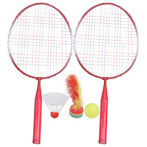 BESPORTBLE Kinder Badminton Set Paar Schläger Badmintonball Mädchen Jungen Anfänger Badminton Training Übung Kindergarten Outdoor Strand Garten Eltern Kind Familien Spielzeug Rosa