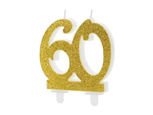 Candeline numerali Glitterate per Compleanno Vari Numeri (60 Anni (codice SCU5-50-019))