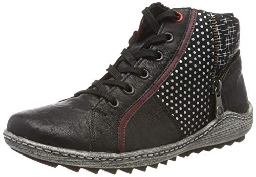 Remonte Damen R1494 Hohe Sneaker, Schwarz (Schwarz/Burgund/Schwarz/Steel/Steel/Schwarz 02), 36 EU