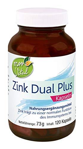 Kopp Vital Zink Dual Plus Kapseln | 73 g |120 Kapseln | Vegan | mit Grüntee-Extrakt | Glutenfrei | ohne Gentechnik | Laktosefrei