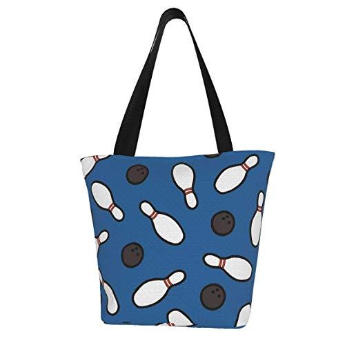Bolsa de lona personalizada, diseño de bolos para alfileres, lavable, bolsa de hombro, bolsa de compras para mujer