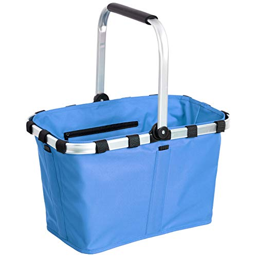 AmazonBasics – Faltbarer Einkaufskorb mit Aluminium-Griff, dunkelblau