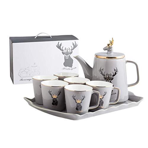 n.g. Wohnzimmerzubehör Teeservice Teetassen-Set 1250ml Keramik-Teekanne-Set mit 6 Porzellantasse Teeservice Home Wohnzimmer Trinktasse Kaffeetassen-Set Hochzeitsgeschenke (Farbe : Weiß)