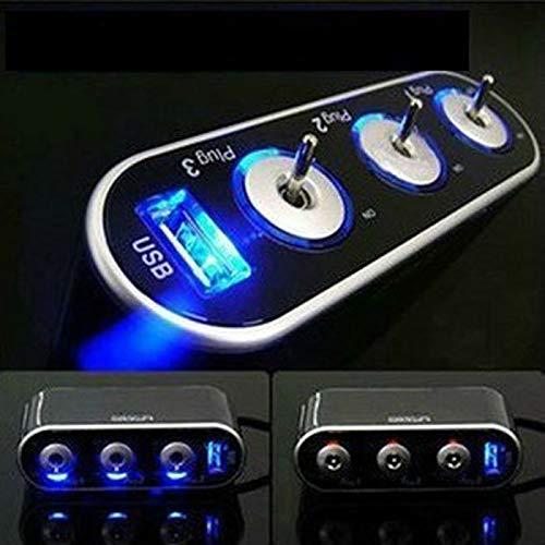 Auto Feuerzeug Neue Auto-Zigarettenanzünder USB-Buchse 3-Wege-Triple-Auto-Zigarettenanzünder-Splitter 12V / 24V + usb + Schalter Car Styling # BL1