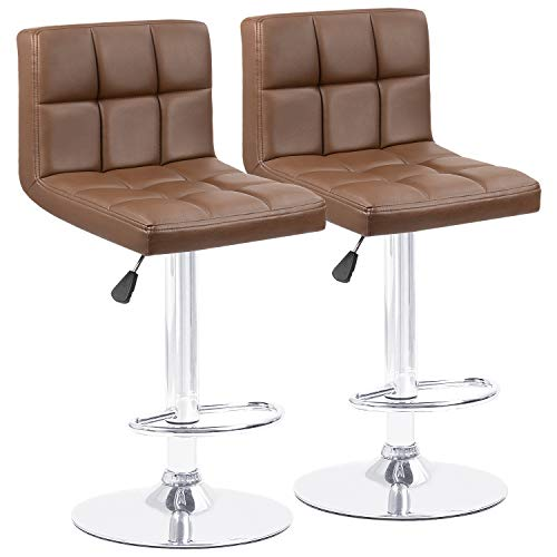Homall Bar Stools Modern PU Leather Adjustable Swivel Barstools, Armless Hydraulic Kitchen Counter Bar Stool Synthetic Leather Extra Height Square Island Barstool with Back Set of 2(Brown)