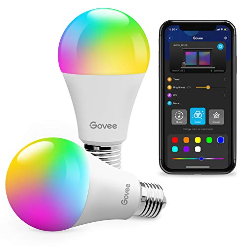 Govee LED Light Bulbs, Dimmable RGBWW Color Changing Bluetooth Light Bulb with App, Music Sync, 9W 60W Equivalent Bulbs, A19, E26, for Home Living Room Bedroom Party 2 Pack (Don't Support WiFi/Alexa)
