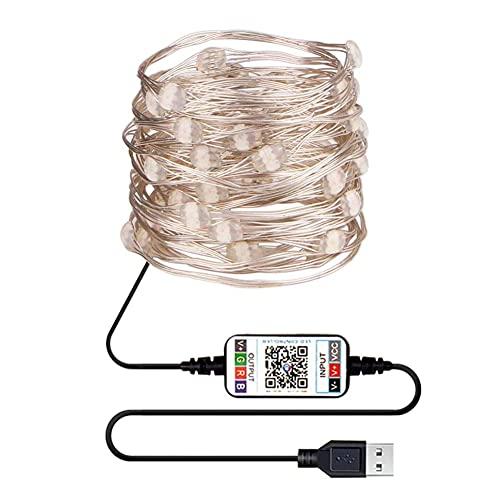 Tira de luces LED RGB Bluetooth, compatible con la aplicación de control USB, cinta de la lámpara para el festival, dormitorio, decoración de Navidad, cuerdas de luz nocturna