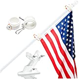 Harrms Flag Pole with Bracket,6 FT Heavy Duty Steel White Pole Kit for House Suitable for 2x3, 3x5, 4x6 American Flag Use for Backyard Garden Yard Tru
