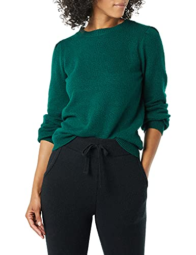 Amazon Essentials Women's Soft Touch Pleated Shoulder Crewneck Sweater, Dark Green, Small