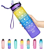 Giotto 32oz Large Leakproof BPA Free Drinking Water Bottle with Time Marker & Straw to Ensure You Drink Enough Water Throughout The Day for Fitness and Outdoor Enthusiasts-Ombre Yellow Purple