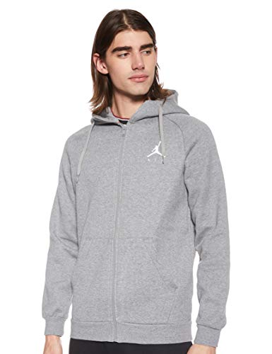 Nike Herren Jumpman Fleece Fz Pullover, Grau (Carbon Heather/White 091), Medium