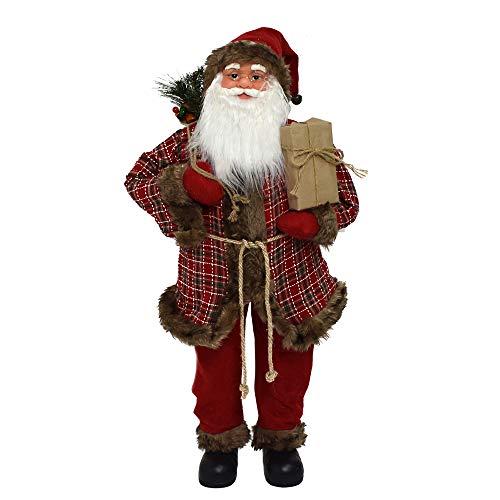 Statua Pupazzo Babbo Natale Gigante 100 cm Decorativo Rosso e Bianco Classico Lana Pelliccia Grande con Albero e Sacco Doni Regali Altezza 60cm Decorazione Natalizia Personaggio Peluche