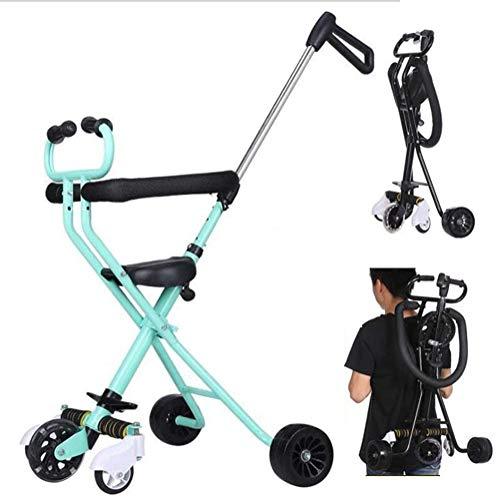 Miwaimao - Carrito de triciclo para niños, ajustable, aleación de acero al carbono, fácil plegable, ligero, 5 ruedas anchas todoterreno
