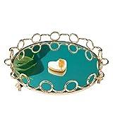 Organizador de bandejas para cosméticos La bandeja de joyas Estilo cosmética caja Organizador Espejo bandeja de postre Tabla bandeja de soporte de la torta decorativa exhibición de la joyería para la