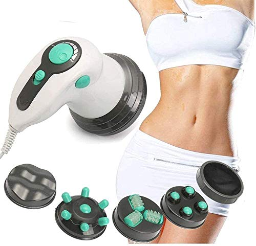 Mbswdd Tragbares Massagegerät Handheld Cordless Cellulite Remover Leistungsstarkes Vibrations-Mehrzweck-Körpermassagegerät zur Linderung von Körperschmerzen mit 4 Aufsätzen