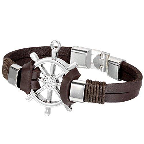 Jewelrywe Los hombres de la pulsera de la joyería de la mujer, pulsera, remo timón Pirata Pirata, Gótico, Liga Animal, Caffe Plata (con bolsa de regalo)