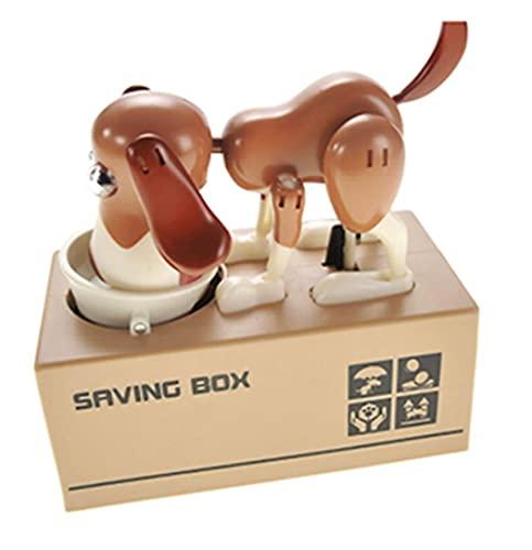 Little Dog Puggy Bank, Doggy Coin Bank, Hucha de perro, Hucha de juguete para cargar monedas, Robótica Monedas Comer Munching Toy Caja de ahorro de dinero (marrón y blanco)