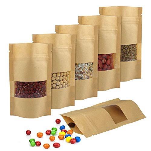 Bolsas Reutilizables, 150 Piezas Bolsa de Papel con Cremalle