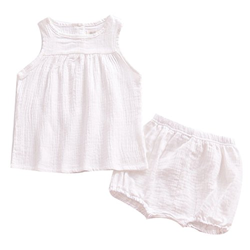 LOOLY Baby Outfits Unisex Girls Boys Cotton Linen Blend Tank Tops and Bloomers 110,White