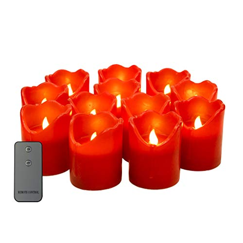 LED Flameless Candles Tear Wave Shaped Tealight Real Wax Simulate Dripping Battery Operated Candles, (D 3'x H 4') Set of 12 red candle, with 2-Key Remote switch