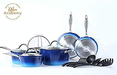 Kitchen Academy 15 Piece Nonstick Granite Coated Cookware Set Complete Pots and Pans Set with Tools