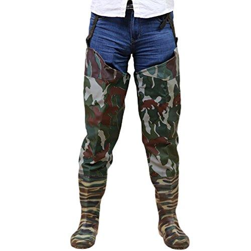 YuanDian Homme Femme De Plein Air Camouflage Hanche Wader PVC 100% Imperméable Pêche à la Ferme Cultivation sans Couture Semelle Antidérapante Cuisse Haute Cuissarde Bottes 43