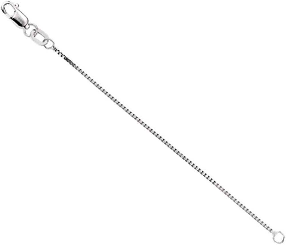 14k White Italian Gold .75mm Box Chain Necklace