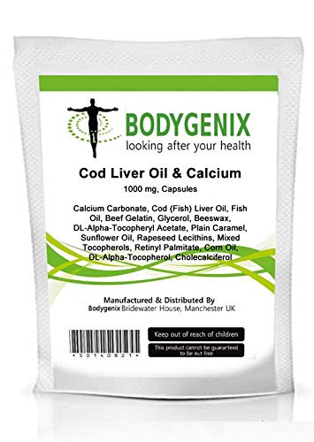 Brand New Pack of'COD Liver Oil& Calcium' 1000mg Capsules (Made in UK) [Several Sizes Available] (120)