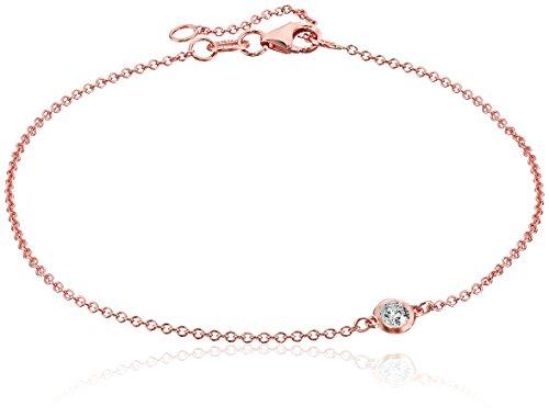 14k Rose Gold Solitaire Bezel Set Diamond with Lobster Clasp Strand Bracelet (1/10cttw, J-K Color, I2-I3 Clarity)