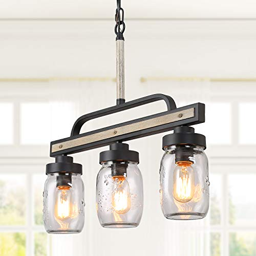 Farmhouse Mason Jar Lighting, Rustic Chandelier in Faux Wood Metal Finish with Glass Shade, Linear Pendant Light Fixture for Kitchen Island, L22'' x H19.5'