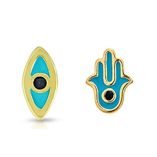 Pori Jewelers - Orecchini a perno in argento Sterling placcato oro con occhio blu e Hamsa Mix & Match – Made in Italy