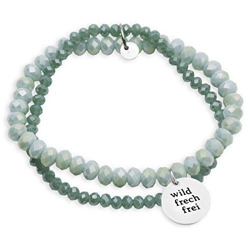 Lieblichkeiten Armband Wild Frech Frei Silber-grün