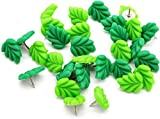 DERAYEE Decorative Push Pins, 20-Count Green Leaves Flat Thumbtacks for Cork Bulletin Board Home Office Organization