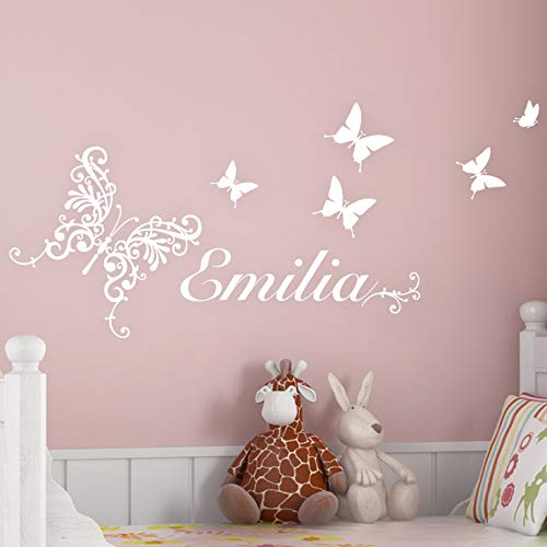 Grandora W744 Wandtattoo Wunschname mit Schmetterlingen Kinderzimmer weiß