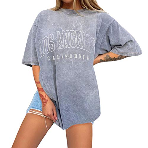 Onsoyours Vintage Oberteile Damen Oversized Tshirt Lustig Streetwear Sonne Mond Motiv Sportshirt Kurzarm Sport Oberteile Sweatshirt Rundhals Teenager Mädchen Top Lang G Grau XL