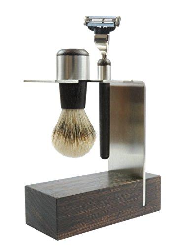Golddachs Rasierset mit Rasierpinsel (100 Prozent Zupfhaar) und Rasierer (Mach3-Klingensystem), Wengenholz/ Edelstahl, 1er Pack (1 x 2 Stück)