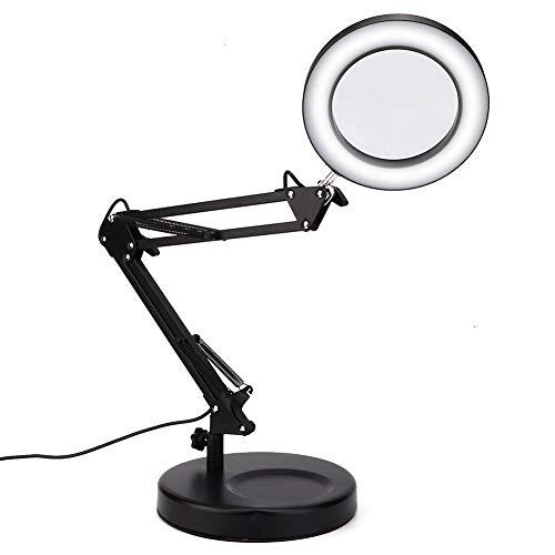 Lampada con lente d\'ingrandimento, lente di ingrandimento 5X Lampada da tavolo a LED USB Tattoo pieghevole pieghevole regolabile in 3 modalità di colore Lampada da scrivania per lettura Lavoro d\'uffic